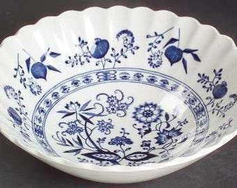 Blue Onion Coupe Cereal Bowl Meakin English Ironstone Dinnerware Blue and White Blue Nordic