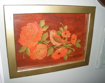 Faux Marquetry Roses and Bird Framed