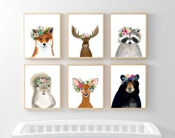 Woodland animals print set, Set of 6 Prints,  woodland nursery set, nursery print set, squirrel, raccoon, deer. fox, bear, nursery art