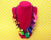Chunky Rainbow Charm Necklace