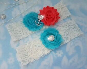 Something Blue Wedding Garter Set - Bridal Garter - Ivory Lace Garter, Something Blue Garter, Aqua and coral Wedding Garter, coral Garter