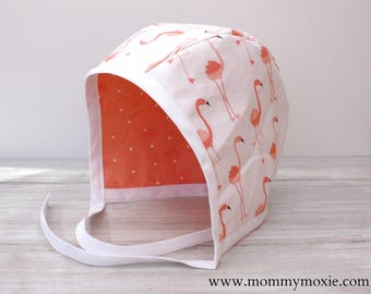 Coral Flamingos Coral White Polka Dot Reversible Baby Bonnet - Sun Bonnet - Baby Hat- Sun Hat - For Your Baby Girl by Mommy Moxie on Etsy