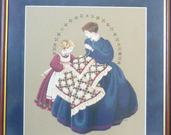 "Framed Cross Stitch Picture, ""The Quilter"", Mother and Daughter Sewing, Mother's Day Gift"