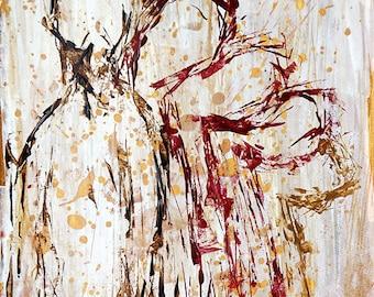 Adjustment to dehabilitation #1. Original acrylic painting, mental health art, cancer art  by Ina Mar