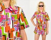 60's Mod Mini DRESS. ABSTRACT A Line Mini Dress.  60's Hippie Boho Mod Sun Dress. Rainbow Orange, Blue, Green, Yellow. Size Sm/M
