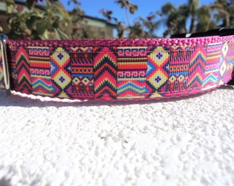 "Sale Dog Collar Southwest Abstract 1"" Quick Release buckle or Martingale collar adjustable - see description for info"