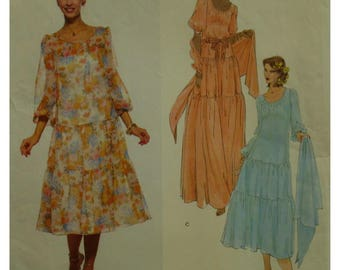 Peasant Dress Pattern, Teal Traina, Three Layers, Long/Short Full Sleeves, Slip,  Scoop Neck, Vogue American Designer 1894 Size 8 OR Size 12
