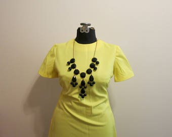 Dress YELLOW mod a line day dress neon bright XL