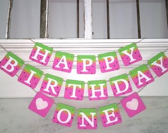 WATERMELON HAPPY BIRTHDAY banner, summer birthday, pink and green, watermelon decoration, pool party Birthday banner,first birthday