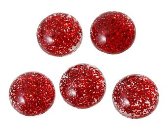 10 Resin Red Glitter Dome 8mm
