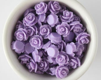 6 Piece Lavender 10mm Cabochon Rosette Flowers DIY Earrings Bobby Pins