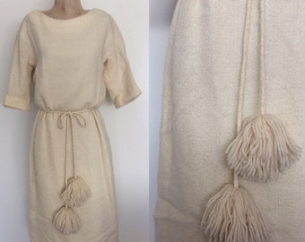1960's Off White Wool Blend Knit Wiggle Dress w/ Pom Pom Belt Size Small Medium by Maeberry Vintage