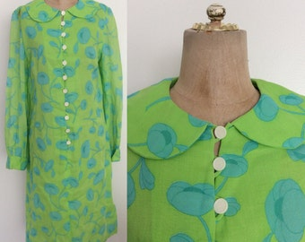 1970's Lime Green & Turquoise Blue Poppy Print Shift Dress Size Medium Large by Maeberry Vintage