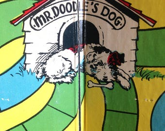 vintage Selchow & Righter game board Mr Doodles dog wire hair terrier - colorful graphic