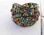 Asymmetrical Double Wrap Bracelet, Czech Glass Wrap Bracelet, Freeform Leather Bracelet, River Bottom Blue Mix, Bohemian Beaded Jewelry