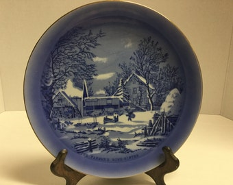 Vintage Currier and Ives Collector Plate The Farmers Home Winter Blue and White