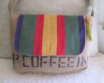 Upcycled Coffee Sack Eco Friendly Rasta Messenger Shoulder Bag