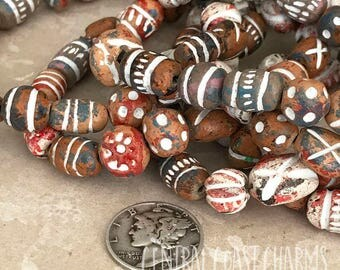 "Clay Ceramic Terra Cotta Beads - Earthy Rustic Neutral  - 7"" Strand - Tribal Ethnic Gypsy Bohemian - Aromatherapy - Central Coast Charms"