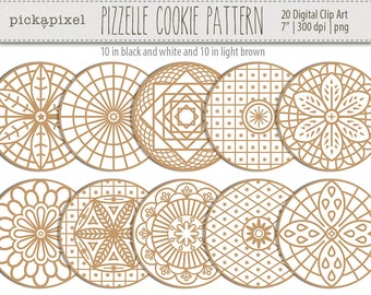 Pizzelle Cookies Pattern, Mandala, Christmass, Waffle, Cookies, Pattern - digital clip art - Personal and Commercial Use