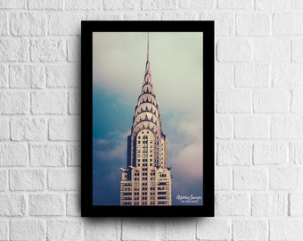 NYC Photography, Chrysler Building, Blue and Pink Home Decor, New York Office Decor, NYC Photo, NYC Print, Manhattan Print, Blue and Cream