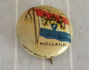 "Shabby Vintage .9"" Small Holland Pinback, Dutch Royal Flag Button, The Netherlands Collectible Tin Lithograph Litho Pinback, Sheffield Farms"