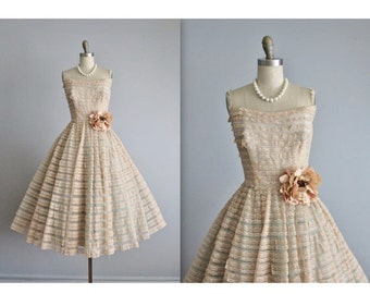 STOREWIDE SALE 50's Prom Dress / Vintage 1950's Strapless Shelf Bust Peach Aqua Tulle Prom Wedding Party Cupcake Dress XS