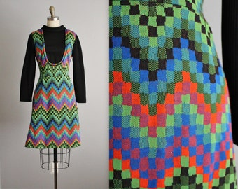 70's Jumper Dress // Vintage 1970's Vibrant Pixel Mod A Line Casual Jumper Day Dress M