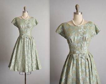 50's Cocktail Dress // Vintage 1950's Floral Brocade Cocktail Party Evening Dress L