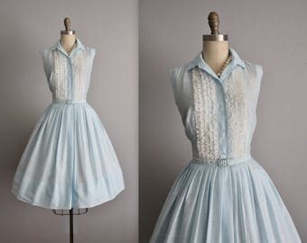 50's Shirtwaist Dress // Vintage 1950's Baby Blue Ruffle Full Garden Party Shirtwaist Dress S
