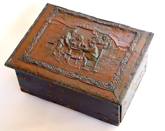 Unusual Antique Rustic Wooden Trunk / Box with Hammered Metal Lid: Keepsake Hope Chest / Shoe Shine / Bread Box? -- Sewing, Jewelry, Storage