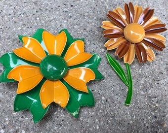 Bright Enamel Flower Pins