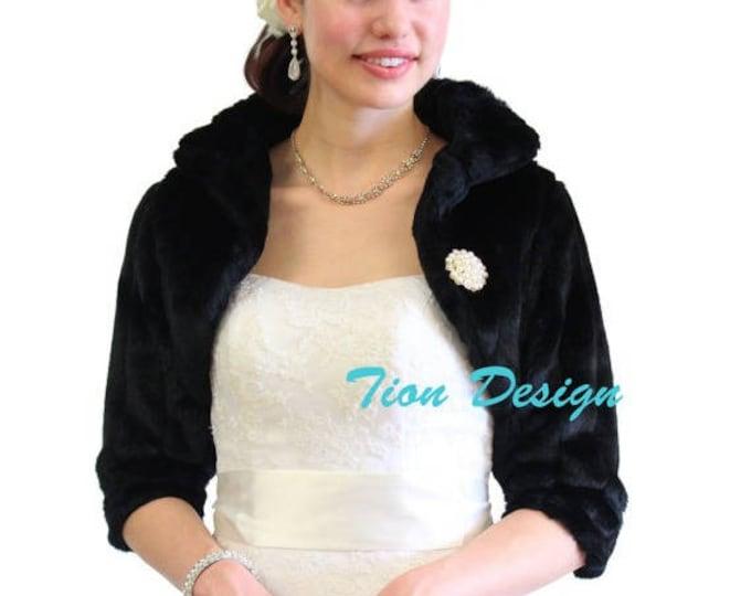 Memorial Day Bridal fur bolero, Black Faux Fur Bridal Jacket, faux fur wrap, faux fur shrug, faux fur jacket, Wedding Jacket. 900MM-BLK