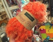 FREE Shipping Available for US Orders Sundance Shaggy Pom Yarn Light Orange Yarn Bright Orange Pom Pom Yarn Pompom Yarn with Eyelash Sparkle