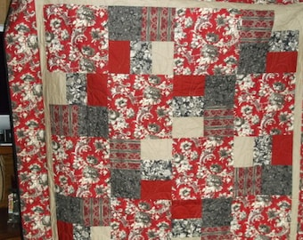 """TWIN  LAP QUILT pRed, Black, Grey and Beige Floral Quilt appx 62""""X84"""" Wedding or birthday gift"""