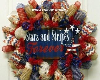 10% OFF Stars and Stripes Forever Wreath, RWB Wreaths, Patriotic Wreaths (2755)