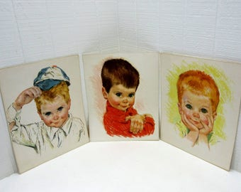 Vintage Northern Tissue American Boys Print Portraits By Francis Hook