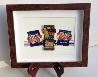 Caruso Feature Matchbook Wall Display Home Decor Fruits and Vegetables Rare Old Matchbook Great Kitchen Wall Decor Unusual Shaped Matches