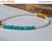 MARCH MADNESS SALE 50% Off, Blue Jade and Freshwater Pearl Bracelet, Simple Bracelet, Gift, Etsy, Etsy Jewelry, Beaded Bracelet