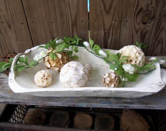 Hand Painted Dough Bowl with Handles, Carved, Rustic, Farmhouse, Cottage Decor, Primitive