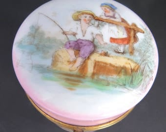Antique Powder Jar with Lid, Kate Greenaway, Victorian Nursery Box, Children Fishing, Mother's Day Gift
