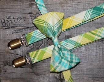Ready-to-ship --- SIZE MEDIUM Aquamarine plaid bow tie, little boy bow tie - photo prop, wedding, ring bearer, accessory