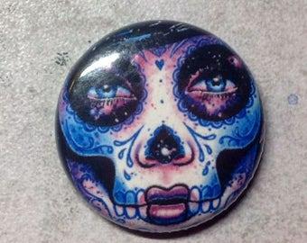 1 inch Pin Back Button - Illuminate - Day of the Dead Sugar Skull Calavera Tattoo Flash Portrait Pinback Button Accessory