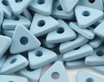 Ceramic-10mm Triangle Disc Beads-Arctic Blue-Quantity 25