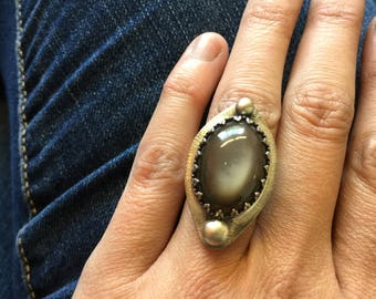 Grey Moonstone and Sterling Ring - Size 5.5