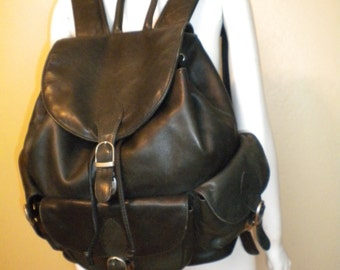 Vintage Large Black Leather Backpack Rucksack