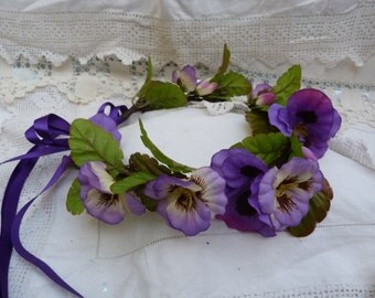 Purple Pansy flower crown - adjustable - wedding