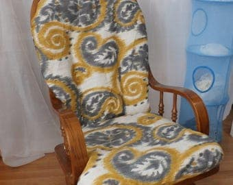 Nursery Glider Rocker SlipCover -PAISLEY Ikat....Grey /Gold  Covers for your cushions