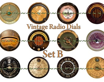 "Radio Dials magnets, pins, or flatback cabochon buttons, steampunk, dieselpunk, industrial, 1 inch or 2.25 "" available, Set B"