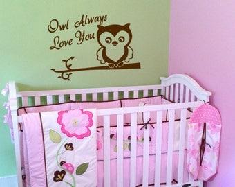 Wall Decal -  'Owl Always Love You' - Kids Room, Nursery, Baby, owl on branch