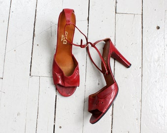 Vintage Gucci Disco Shoes 8 • Gucci Heels • Burgundy Heels • Strappy Heels • Designer Shoes • Maroon Heels • High Heel Shoes | SH407